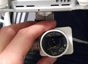 objectif de la caméra du drone cassé