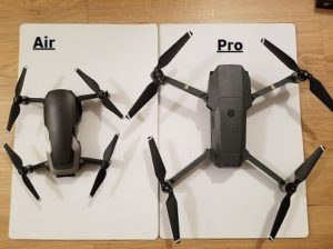 comparaison de la taille du mavic pro et du mavic air